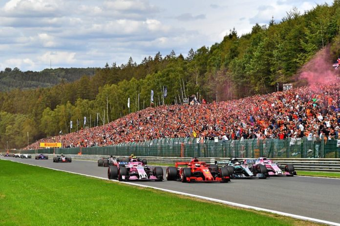 belgijos gp startas ferrari mercedes force india